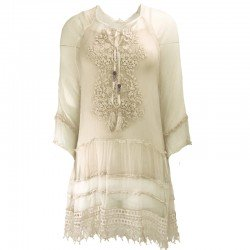 Crepe silk tunic embroidered with lace