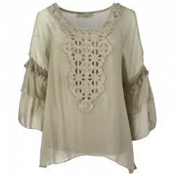 Silk blouse with open shoulders