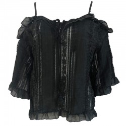 Ethnic blouse with bare shoulders effect detached