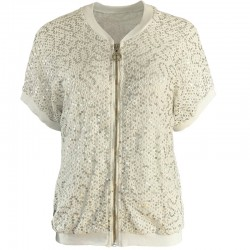 Bomber jacket with short sleeves and sequins