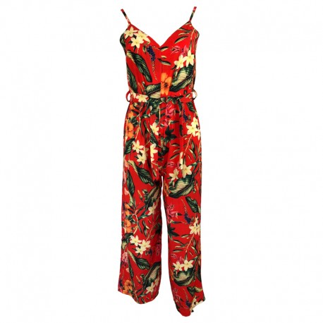 Long overalls with floral print