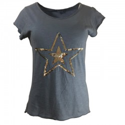 Cotton T-shirt with glitter stars