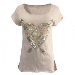 Cotton T-shirt with sequins and embroidered arrows