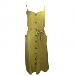 Linen dress with buttons in wood and lace at the waist