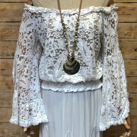 Ibiza style off shoulders lace blouse