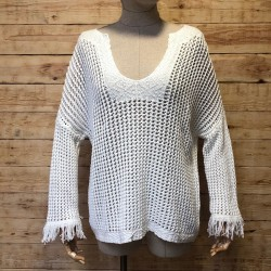Hippie chic openwork sweater