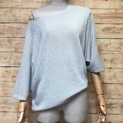 Lurex oversize short-sleeved sweater