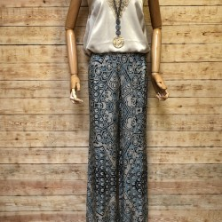 Floral print silk long trousers