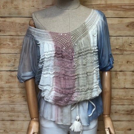 Degrade blouse with lace and sequins